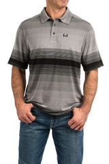 Men's Cinch S/S, Arena Flex, Black and Gray Stripes