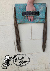 Keep it Gypsy Clutch, Sloan, Turquoise Tooled with Fringe, LV Patch