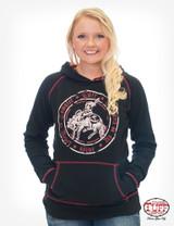 Women's Cowgirl Tuff Hoodie, Raglan, Red Plaid Lining, Bucking Horse