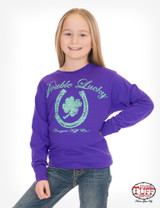 Girls Cowgirl Tuff L/S, Purple with Double Lucky Clover Print