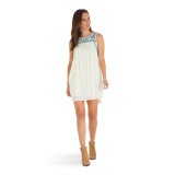 Women's Wrangler Dress, Cream with Embroidery