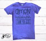 Women's L&B Life Tee, Amen Hallelujah, Purple