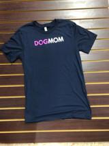 Women's DogMom Tee, Pink Lettering, Dark Navy