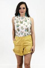 Women's L&B Shorts, Ruffled trim with Tassel String