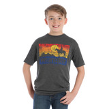 Boys Wrangler Tee, Charcoal Heather, Western Sunset