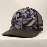 Men's Ariat Cap, Blue Digital Camo, Offset Flag Patch