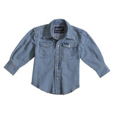 Boys Wrangler L/S, Light Denim Workshirt