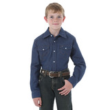 Boys Wrangler L/S, Dark Denim Workshirt