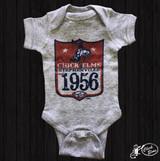 Baby XOXO Onesie, Chick Elms 1956, Gray