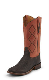 Men's Tony Lama Boot, Chocolate Hornback Caiman, Reddish Orange Top