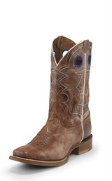 Men's Nocona Boot, Brown Vamp and Shaft, White Piping, Blue Stitch