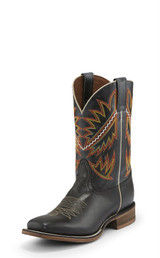 Men's Nocona Boot, Black with Red and Orange Stitching, White Piping