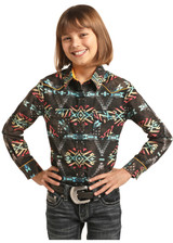 Girls Rock & Roll L/S, Black with Red and Yellow Aztec, Snaps