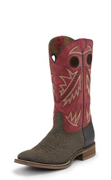 Men's Nocona Boot, Roughout Two Tone Vamp, Red Shaft
