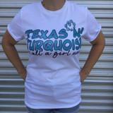 Women's GINA Tee, Texas N Turquoise, White, Rolled Sleeve Cuff