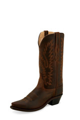 Women's Old West Boot, Snip Toe, Brown Shaft and Vamp