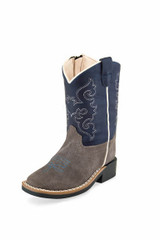 Toddler Old West Boot, Blue Shaft with Gray Vamp