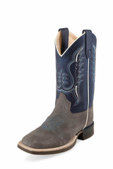 Youth Old West Boot, Blue Shaft with Gray Vamp