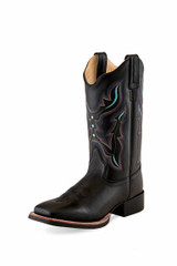 Women's Old West Boot, Square Toe, Black with Turquoise Inlay