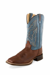 Men's Old West Boot, Brown Vamp with Blue Shaft