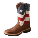 Men's Twisted X Work Boot, VFW Flag Shaft, Distressed Brown Vamp