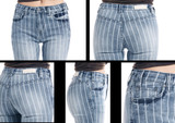 Women's Rock & Roll Jeans, Trouser/Bell Bottom, High Rise, Denim Striped