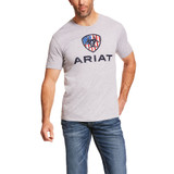 Men's Ariat Tee, Liberty USA, Heather Gray