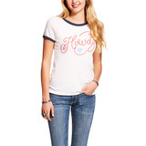 Women's Ariat Tee, Wrangle, White, Howdy