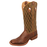Men's Twisted X Boot, Cracked Chocolate Vamp, Green Shaft with Cross Stitch