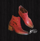 Women's L&B Boots, Red Studded Ankle Boots
