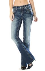 Women's Charme Jeans, Dark Wash Boot Cut, Embellished Pocket