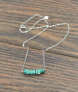 Isac Trading Necklace, Thick Sterling Chain, Natural Turquoise Disk Beads