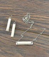 Isac Trading Necklace and Earrings, White Turquoise Bar
