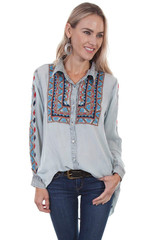 Women's Scully L/S, Denim with Red and Blue Embroidery Details