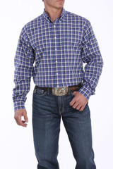Men's Cinch L/S,Purple, White and Green Plaid