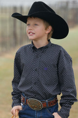 Boys Cinch L/S, Black with Purple Polka Dots