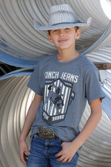Boys Cinch Tee, Gray with Buckin Bronc