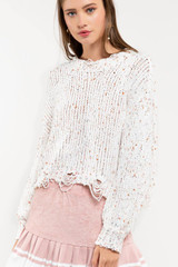 Women's POL Sweater, Distressed Confetti