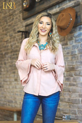 Women's L&B Top, Light Muave, Button Down, Bell Sleeve