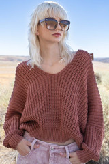 Women's POL Sweater, Cable Knit, Deep V