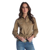 Women's Wrangler L/S, Solid Tan, Pearl Snap