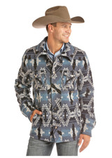 Men's Powder River Coat, Wool, Blue, Black and White Aztec