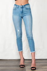Women's Sneak Peek Jeans, Mid Rise Skinny, Cropped with Raw Hem