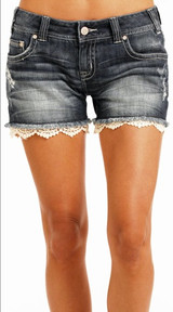 Women's Rock & Roll Shorts, Dark Wash with Crochet Bottom