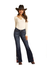 Women's Rock & Roll Jeans, Mid Rise Flare, Floral Embroidery