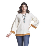 Women's Wrangler Sweater, Retro, Cream and Mustard, Bell Sleeve