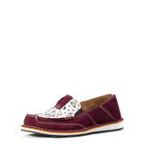 Women's Ariat Cruiser, Burgundy Suede with Cowgirl Print