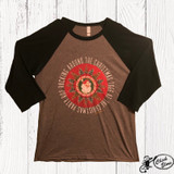Women's Ranch Swag L/S, Rockin Around the Christmas Tree, Gray Raglan with Emerald Sleeve
