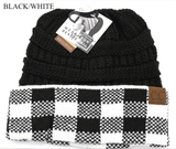 C.C. Beanie, Black with Buffalo Check Cuff, Messy Bun