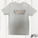 Women's Ranch Swag Tee, Texas Home State Map, Sky Blue, Round Neck